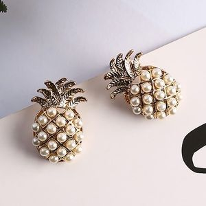 NEW Gold Pineapple Pearl Earrings